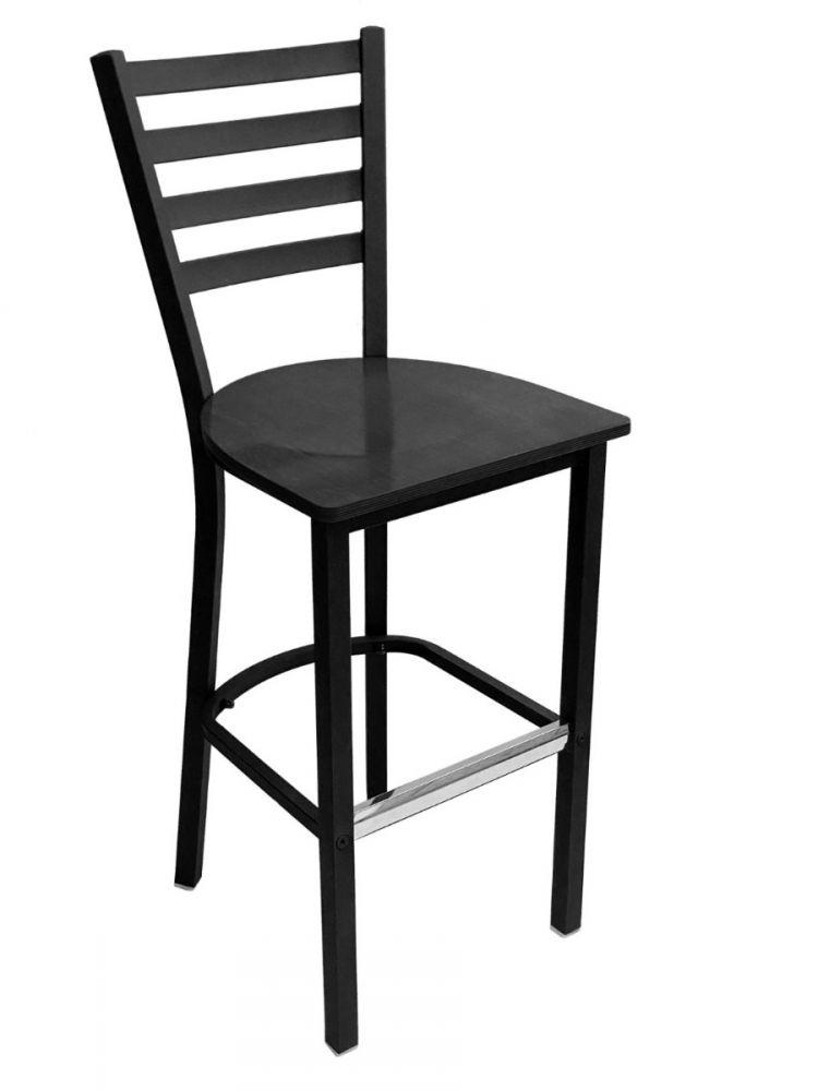 #316BS/ Metal Ladder Back Bar Stool Black with Black Wood Seat