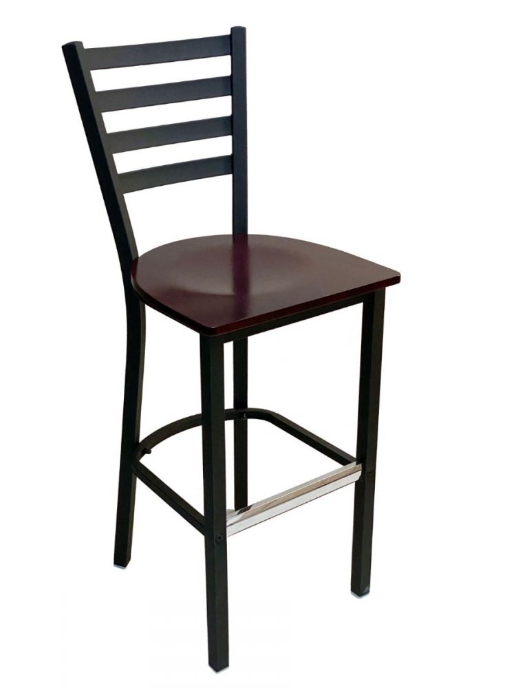 #316BS/ Metal Ladder Back Bar Stool Black with Brown Wood Seat
