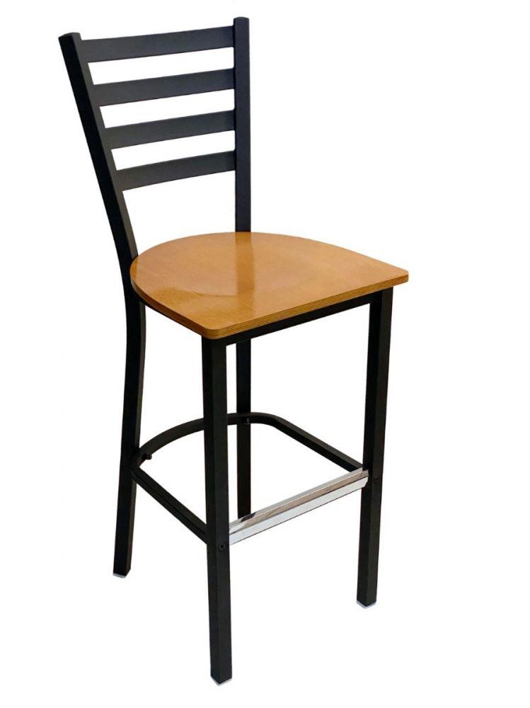 #316BS/ Metal Ladder Back Bar Stool Black with Natural Wood Seat