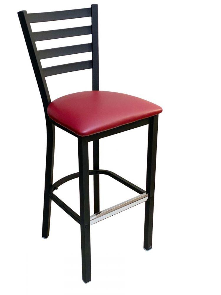 #316BS/ Metal Ladder Back Bar Stool Black with Claret Vinyl Seat