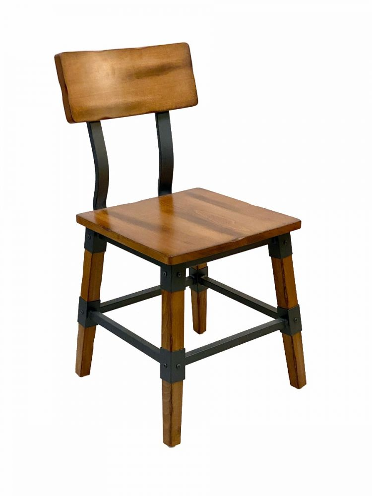 #321/ Modern Industrial Metal Frame with Antique Walnut Wood Seat Side Chair