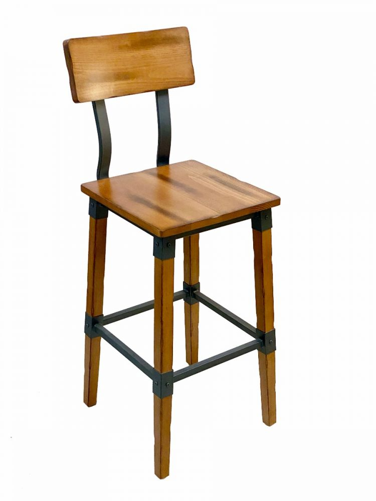 #321BS/ Modern Industrial Metal Frame with Antique Walnut Wood Seat Bar Stool