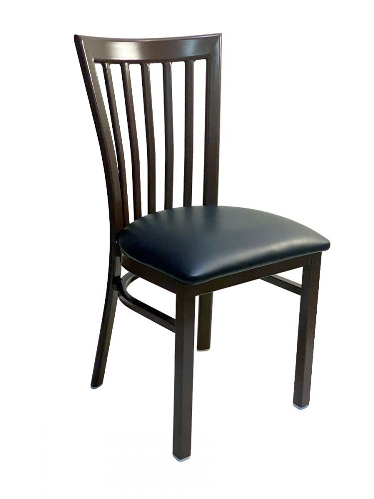 #327/ Vertical Slats Metal Chair Dark Brown/Black Vinyl Seat