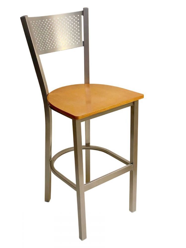 #317BS/ Grid Back Bar Stool Silver with Natural Wood Seat